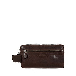 Conkca London - Darkest brown 'Windermere' leather wash bag