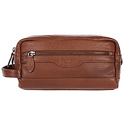 Conkca London - Conker brown 'Loch' handcrafted leather wash bag
