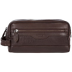 Conkca London - Dark brown 'Loch' handcrafted leather wash bag