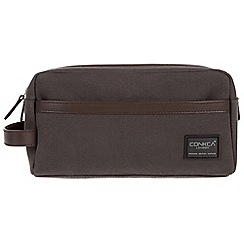 Conkca London - Grey 'Tarn' 16oz canvas and leather wash bag