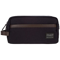 Conkca London - Navy 'Tarn' 16oz canvas and leather wash bag