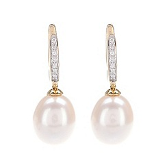 Pure Luxuries London - Gift packaged 10-10.5mm pearl, diamond and 9-carat yellow gold earrings