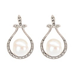 Pure Luxuries London - Gift boxed 'Renee' large freshwater pearl and marcasite earrings