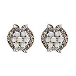 Pure Luxuries London - Gift boxed 'Caitlyn' freshwater pearl and marcasite earrings