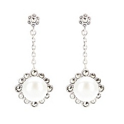 Pure Luxuries London - Gift packaged large freshwater pearl and marcasite drop earrings