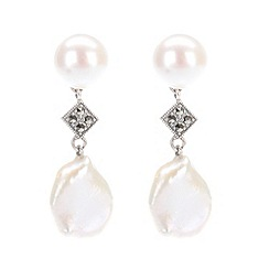 Pure Luxuries London - Gift boxed 'Hayley' freshwater coin pearl and marcasite earrings