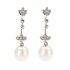 Pure Luxuries London - Gift packaged freshwater pearl and marcasite drop earrings