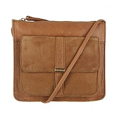 Portobello W11 - Tan 'Carmen' leather and suede small across body bag