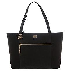 Portobello W11 - Black 'Dee' canvas and leather hand bag