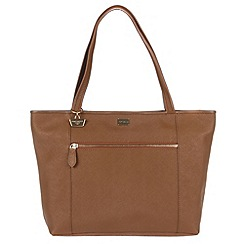 Portobello W11 - Dark tan 'Dee' Saffiano leather hand bag