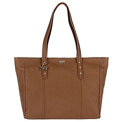 Portobello W11 - Dark tan 'Caroline' Saffiano leather hand bag