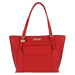 Portobello W11 - Poppy red 'Penelope' Saffiano real leather hand bag