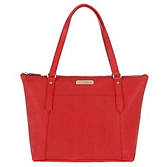 Portobello W11 - Poppy red 'Naomi' Saffiano real leather hand bag