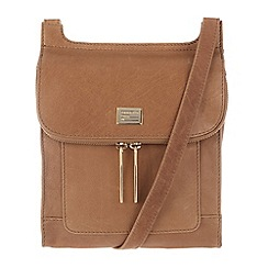 Portobello W11 - Tan 'Leona' leather small across-body bag