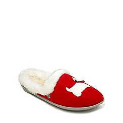 Freestep - Red textile ladies (EEE) slipper