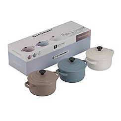 Le Creuset - Mineral blue, sisal and cotton stoneware set of 3 petite casseroles