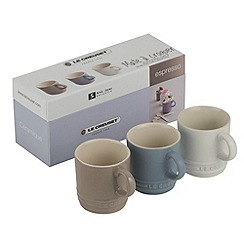 Le Creuset - Mineral blue, sisal and cotton stoneware set of 3 espresso mugs