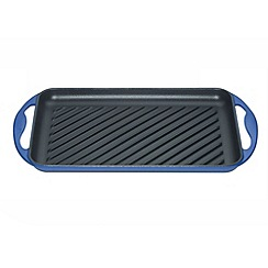 Le Creuset - Marseille blue cast iron 32.5cm rectangular grill