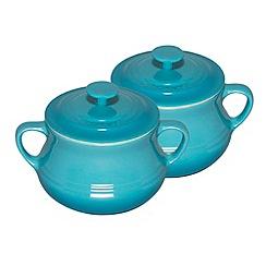Le Creuset - Teal stoneware soup bowls x 2