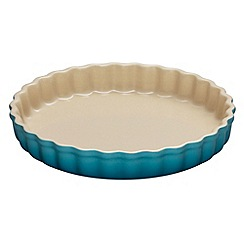 Le Creuset - Teal stoneware 24cm fluted flan