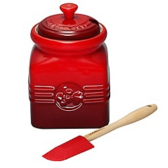Le Creuset - Cerise stoneware berry jam jar and spreader