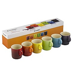 Le Creuset - Rainbow stoneware set of 6 espresso mugs