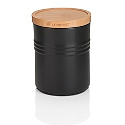 Le Creuset - Black medium storage jar with wooden lid