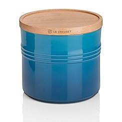 Le Creuset - Marseille blue stoneware large storage jar with wooden lid