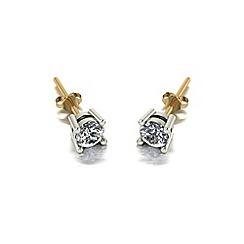 Moissanite - 9ct gold 4.0mm single stone earrings
