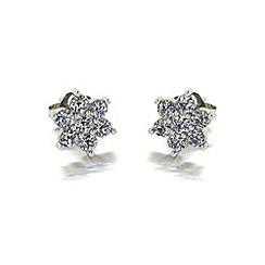 Moissanite - 9ct gold cluster earrings