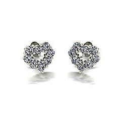 Moissanite - 9ct gold heart earrings