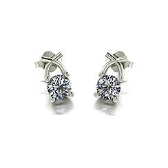 Moissanite - 9ct white gold 1ct total earrings