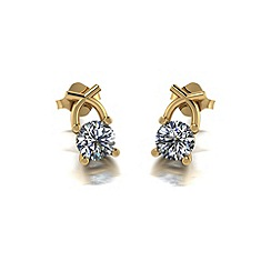 Moissanite - 9ct yellow gold 1ct total earrings
