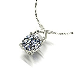 Moissanite - 9ct white gold 0.50ct total pendant