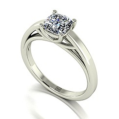 Moissanite - 9ct white gold cush 1.1ct solitaire ring