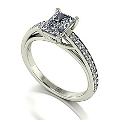 Moissanite - 9ct white gold 1.37ct total ring