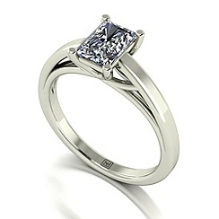 Moissanite - 9ct white gold 1.17ct emerald cut solitaire