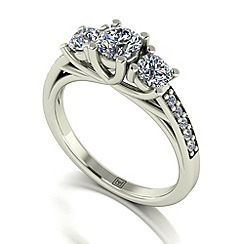 Moissanite - 9ct white gold 1.10ct total ring