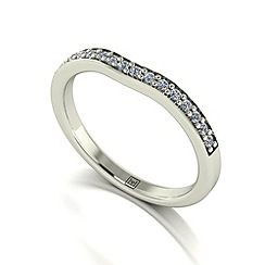 Moissanite - 9ct white gold 0.20ct total ring