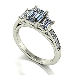 Moissanite - 9ct white gold 1.75ct total ring