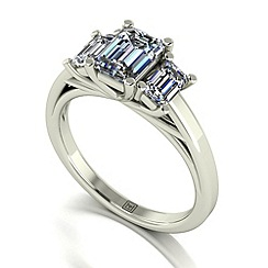 Moissanite - 9ct white gold 1.65ct total ring
