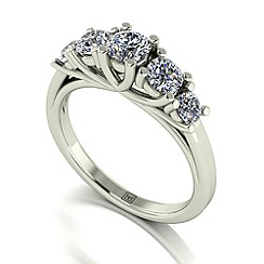 Moissanite - 9ct white gold 1ct total ring
