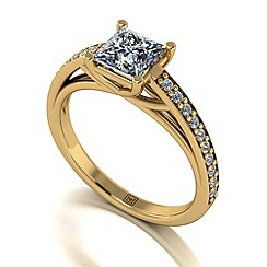 Moissanite - 9ct yellow gold 1.25ct total ring