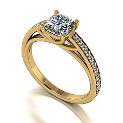 Moissanite - 9ct yellow gold 1.30ct total ring