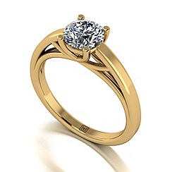 Moissanite - 9ct yellow gold 1ct solitaire ring
