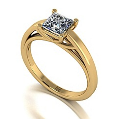 Moissanite - 9ct yellow gold 1ct sq solitaire ring