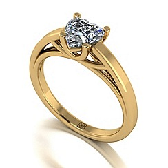Moissanite - 9ct yellow gold heart 1ct solitaire ring