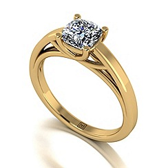 Moissanite - 9ct yellow gold cush 1.1ct solitaire ring