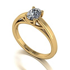 Moissanite - 9ct yellow gold oval 0.90ct solitaire ring