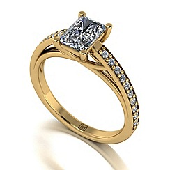 Moissanite - 9ct yellow gold 1.37ct total ring